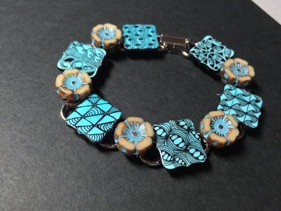 Teal Zentangle inspired art bracelet with beautiful by BoTangles