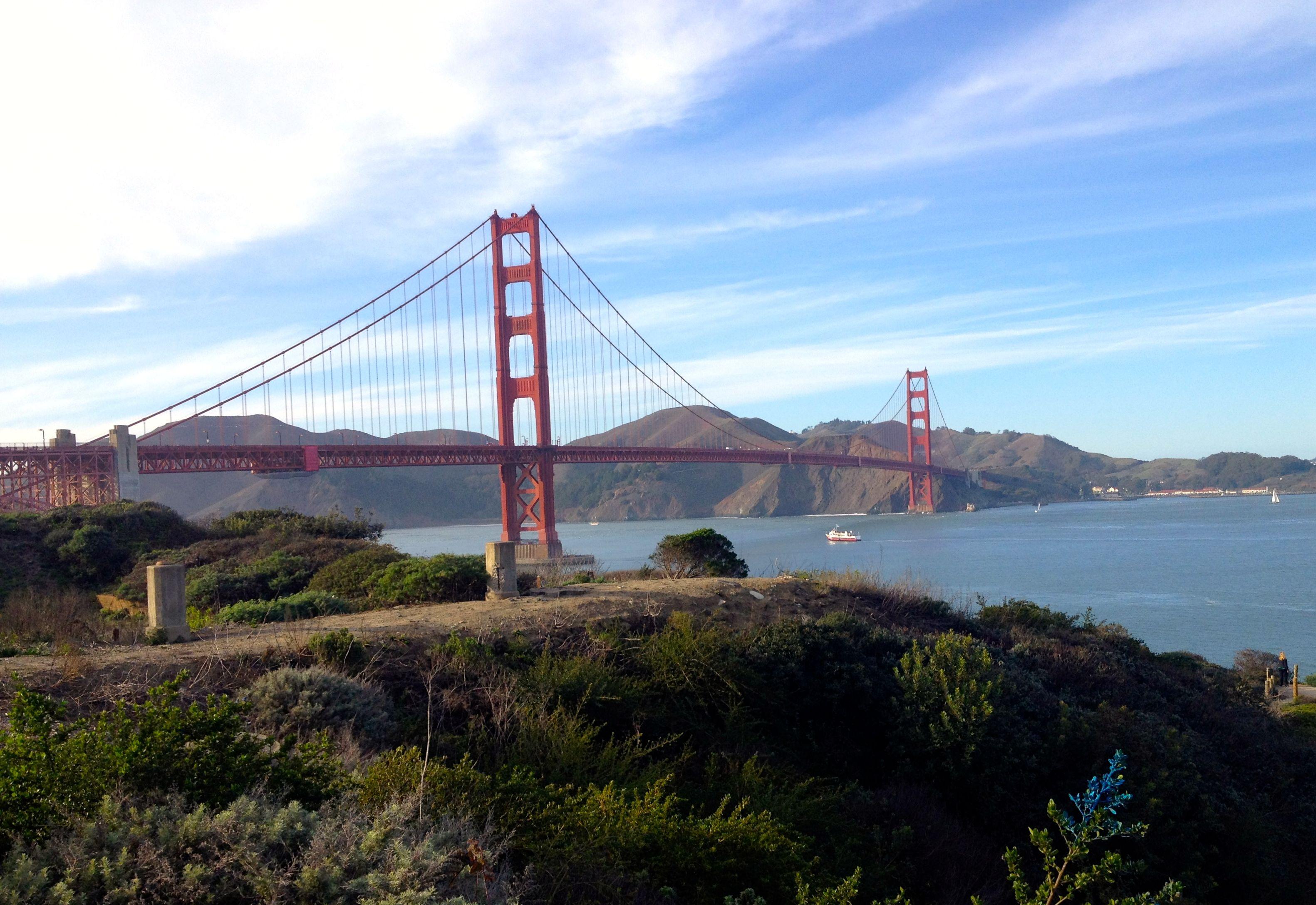 Riding bikes across the Golden Gate Bridge, San Francisco California