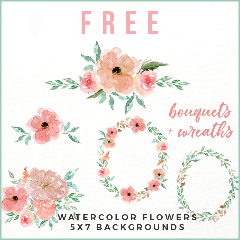 Free Peachy Pink Watercolor Flower Collection