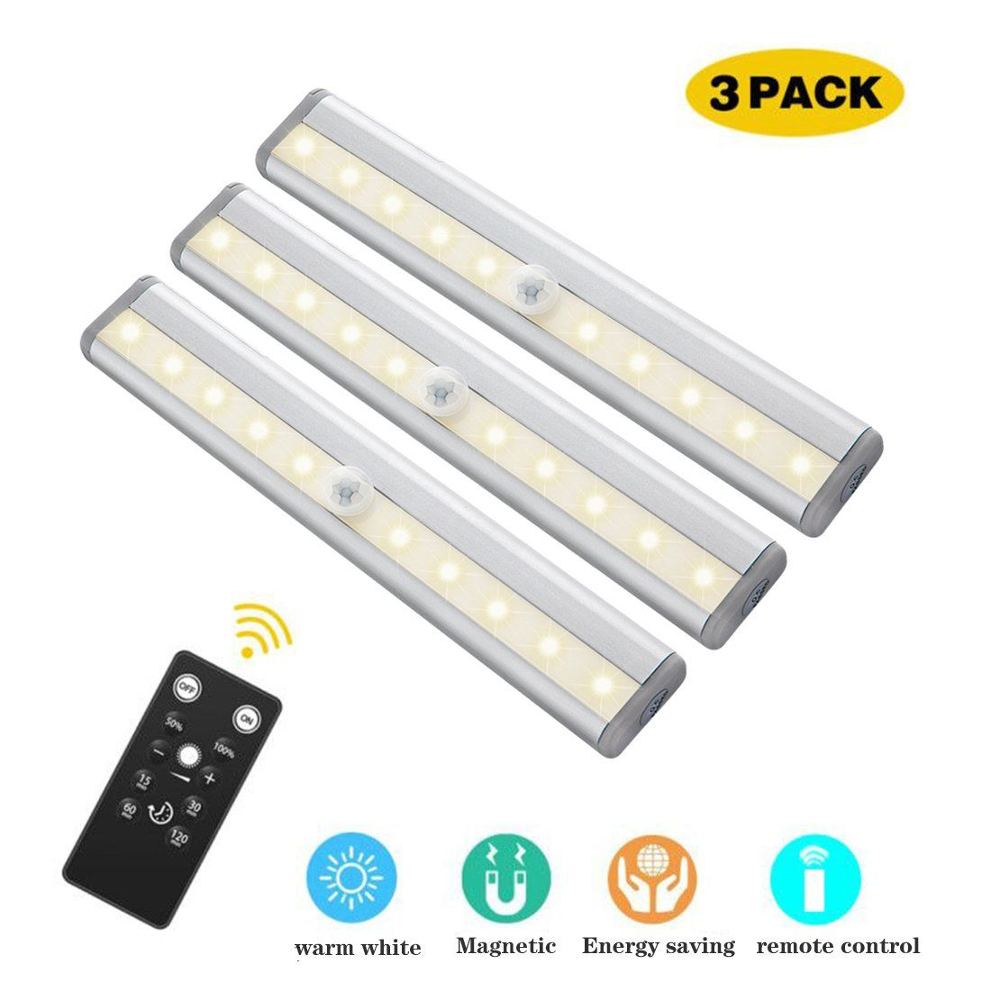 Gostar Under Cabinet Lighting 10leds Dimmable Remote Control Night
