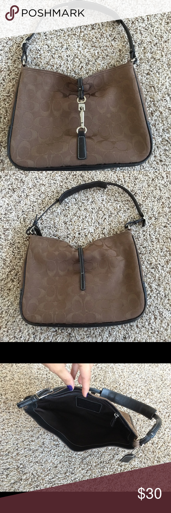 Coach Brown Handbag Brown/Black Used a few times. Still in very good condition. Coach Bags Shoulder Bags