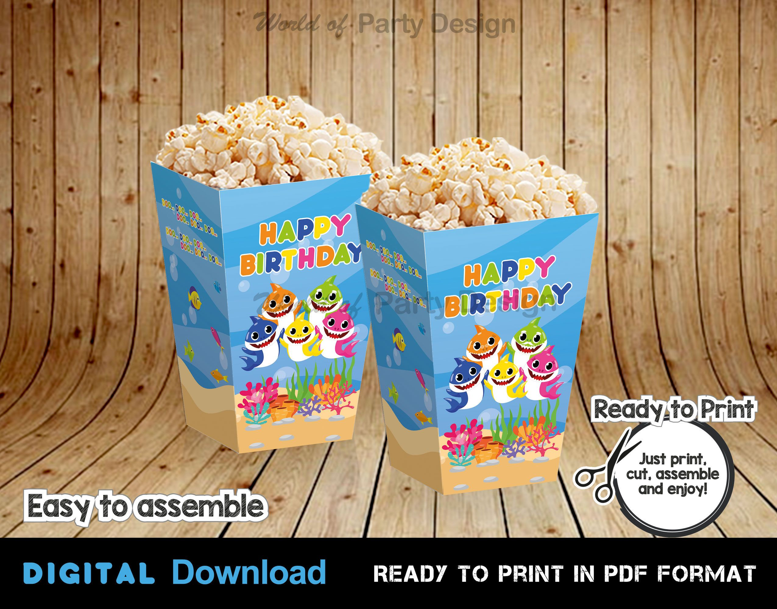 Baby Shark Popcorn Box DIGITAL, Baby Shark Birthday Decorations, Shark Party Instant Download Template
