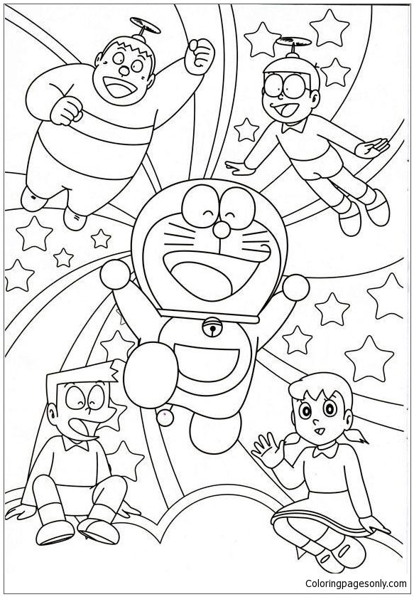 Doraemon And His Friends 1 Coloring Page | Doraemon Coloring Pages ...