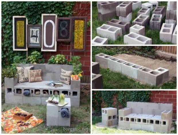 Banco realizado con bloques de cemento mueble mobiliario for Bancos de jardin con almacenaje