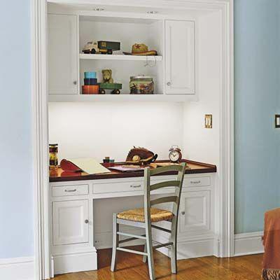 alcove office. builtin storage ideas alcove office