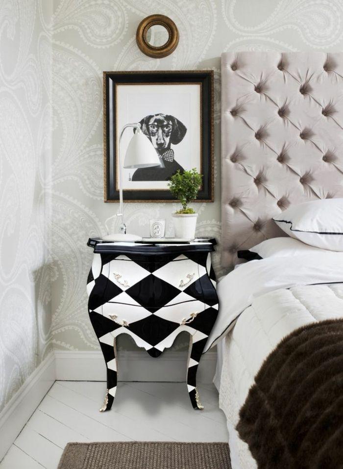 Nachttisch Barock Kommode Schwarz Weiß Schachbrettartig Goldene Elemente