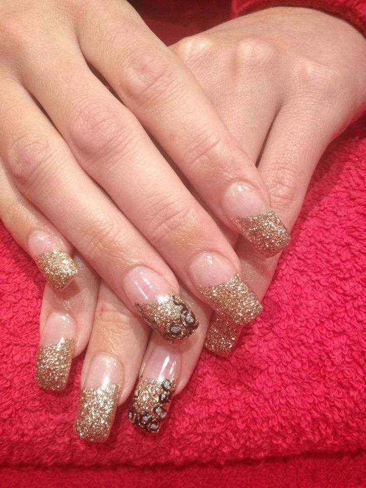 Acrylic Nails. Gold French Manicure. Gel Overlay. Free Hand Nail Art ...