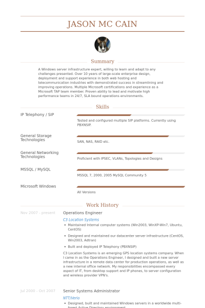 Operations Engineer Cv Example Visualcv Resume Samples Database Resume Resume Examples Cv Examples