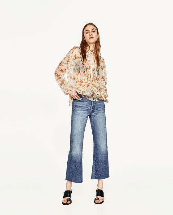 Blusa Bambula Estampado Floral de Zara en 21 Buttons