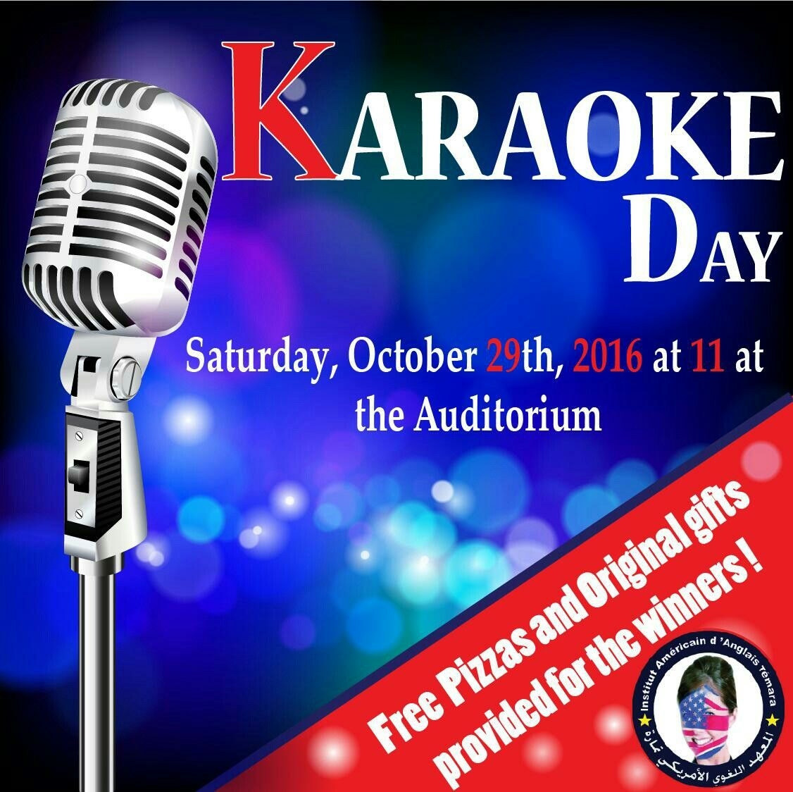 Join Us Our Karaoke Day At The American Center Temara Live Music Performance On Mic Drinks Prizes Celebrities And A Lot More Karaoke Temara Original Gifts
