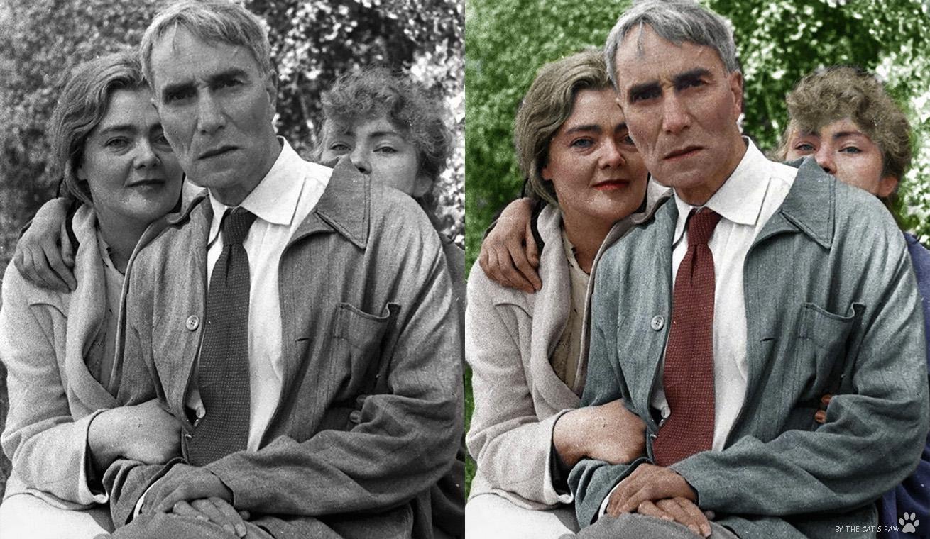 Boris Pasternak with Olga Ivinskaya and her daughter Irina Emelyanova photographed in 1957. Colourised. http://ift.tt/2ATfr3U