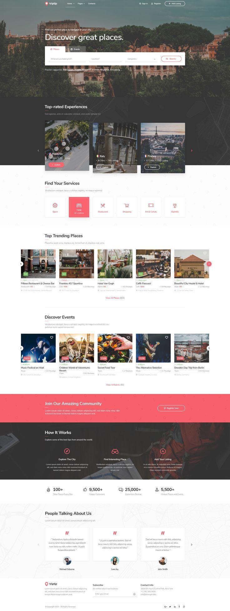 TripTip  Listing  Directory PSDVorlage estate  web design