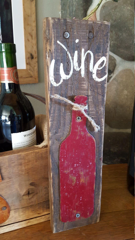 Wine Sign Bottle Decor Rustic Home