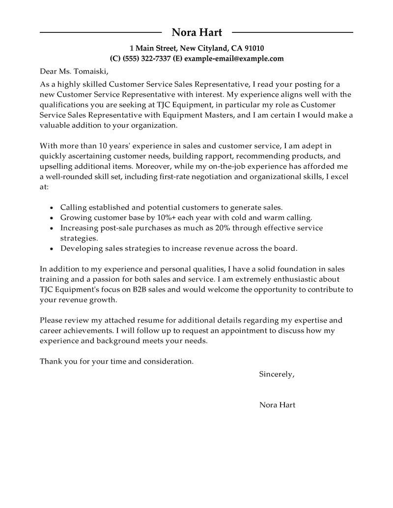 Sample Retail Sales Representative Cover Letter For Create Rep