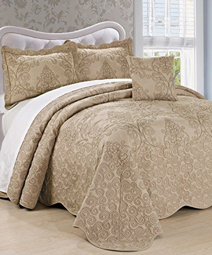 BNF Home Damask 4 Piece Bedspread Set, Queen, Incense ** Want to know more, visit http://www.amazon.com/gp/product/B019G9ZRJO/?tag=ilikeboutique09-20&xy=140716225626
