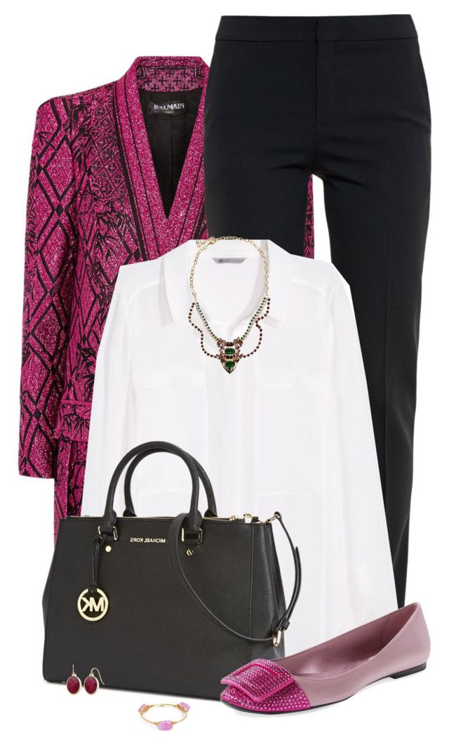 """Magenta + Black Office Style"" by jafashions ❤ liked on Polyvore featuring Balmain, Chloé, H&M, Michael Kors, Roger Vivier, Liz Claiborne, Dsquared2 and Bourbon and Boweties"