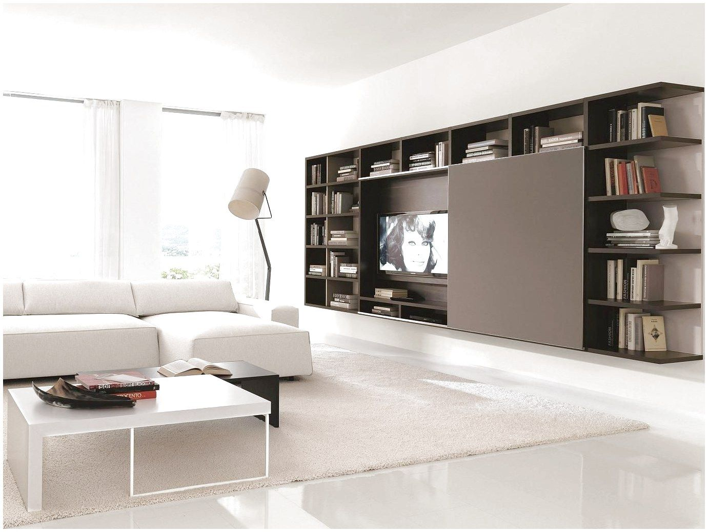 Furniture Dark Brown Wall Storage System For Living Room Design With White Interior Co Living Room Furniture Layout Trendy Living Rooms Living Room Wall Units #white #living #room #wall #units