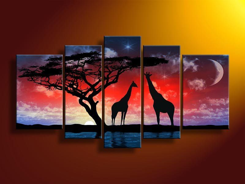 5026 Handmade 5 Piece Landscape Oil Painting On Canvas Wall Art Pic Scenery  Sunset African Giraffe Picture For Living Room