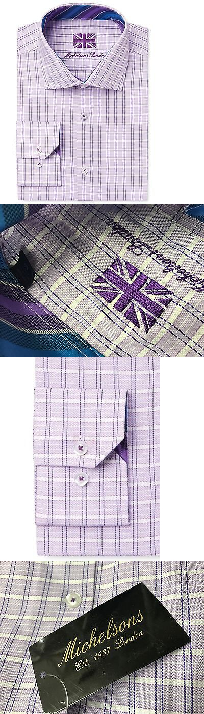 Tuxedo and Formal Shirts 105512: $279 Michelsons London Men Slim-Fit Purple White Check Long-Sleeve Dress Shirt M -> BUY IT NOW ONLY: $34.95 on eBay!