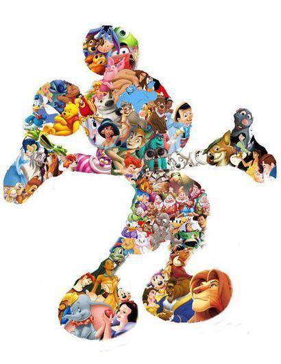 Mickey Mouse Avec Beaucoup De Personnage Disney Vieux