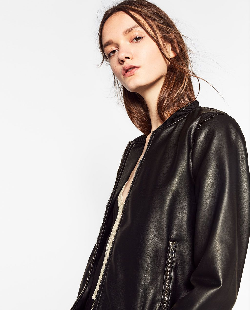 Zara Woman Bomber Jacket With Zips [ 1269 x 1024 Pixel ]