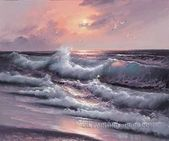 Stretched Oil Painting Reproduction Seascape Ocean Waves Beach Wall Art