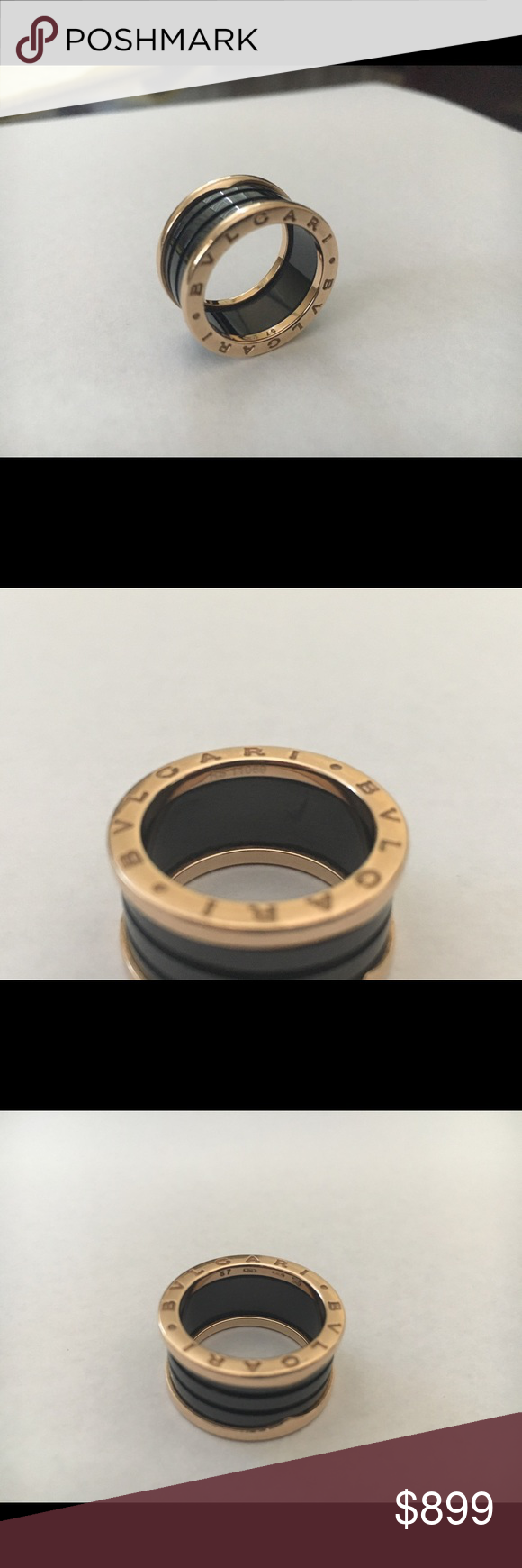bvlgari zero1 ring 18k rose gold size 57 us 8 preowned authentic
