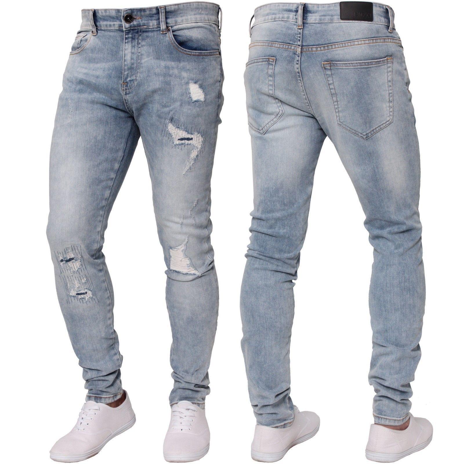 5038f523ac08 New ENZO Mens Skinny Super Stretch Fit Ripped Denim Jeans All Waist Blue  Black   eBay  Denim Jean Pants Men  Denim Pants  Denim Jeans for Men   Denims for ...