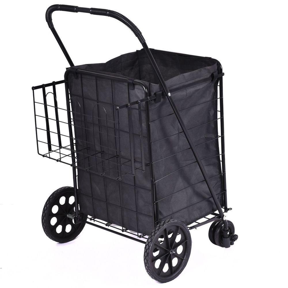 Folding Shopping Cart Jumbo Size Basket With Wheels For Laundry
