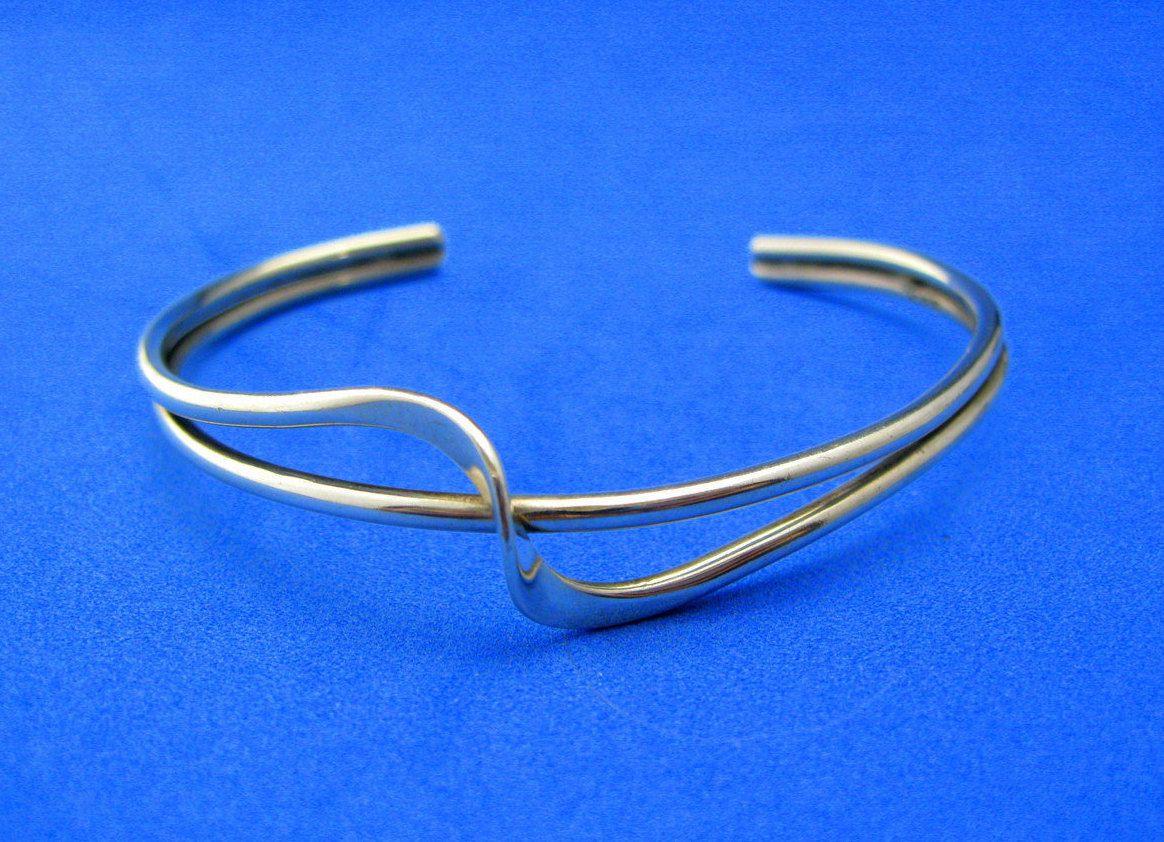 Vintage sterling silver cuff bracelet modernist twisted wave design