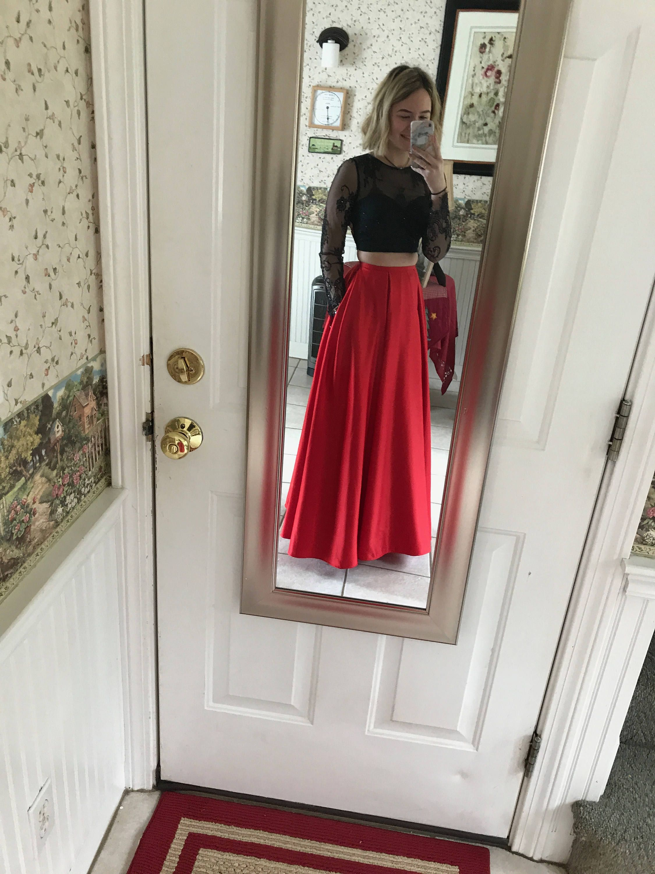 Red and black long sleeve prom dress by kayleecouturestudio on etsy