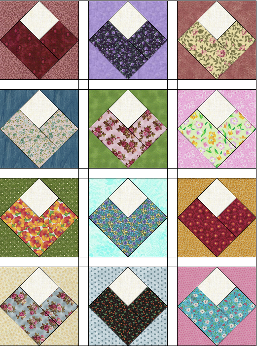Scrappy Grab Bag Fabric Log Cabin Hearts Patchwork Pattern Easy ... : pre cut quilt fabric - Adamdwight.com