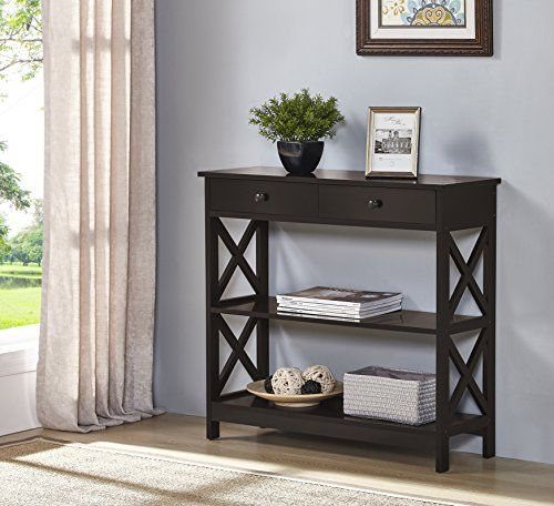 Etonnant Espresso Finish 3 Tier Console Sofa Entry Table With Shelf / Two Drawers