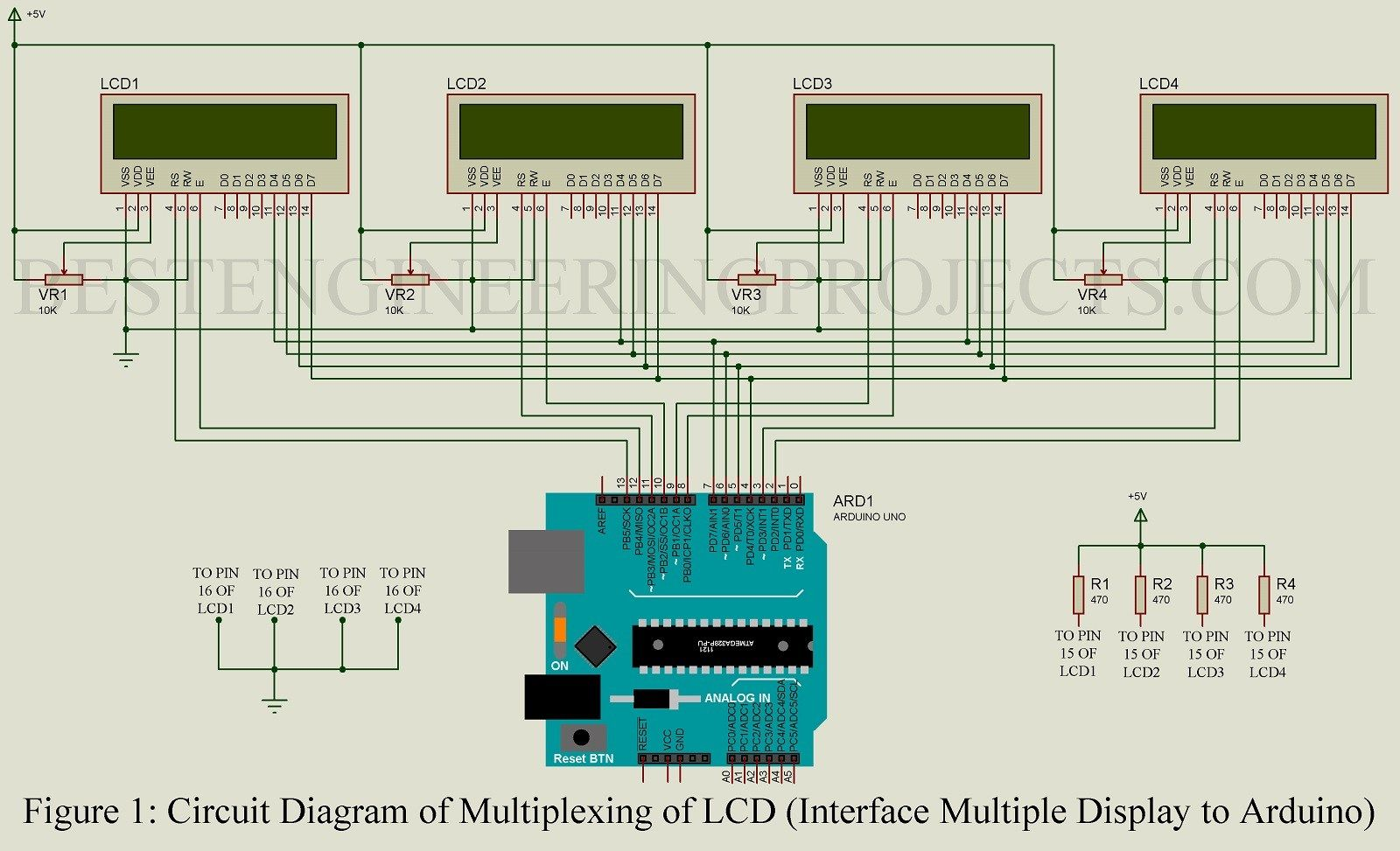 Multiplexing Multiple Lcd Using Arduino Uno Raspberry Pi Led Project Circuit Diagram Projects Computer Engineering