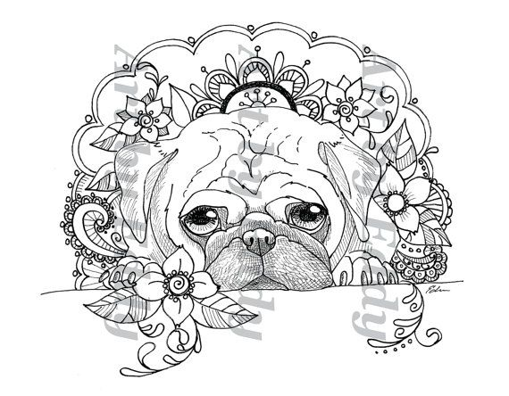 This Coloring Page Consists Of 1 Hand Drawn Image Of A Beautiful Pug For You To Color The File Is Hig Dog Coloring Book Puppy Coloring Pages Coloring Book Art