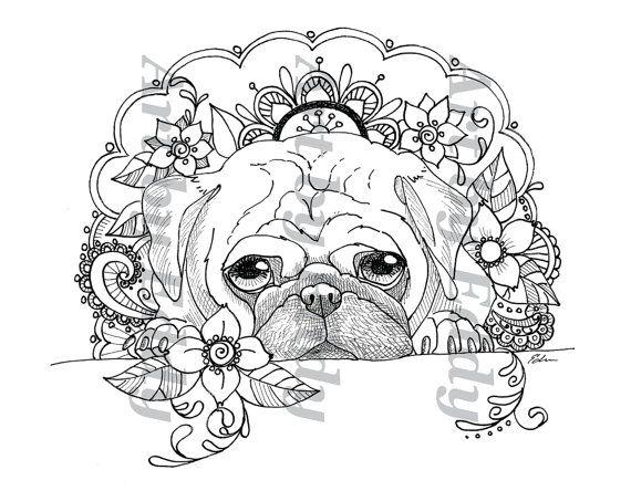 Art Of Pug Single Coloring Page Peek A Boo Dog Coloring Book Puppy Coloring Pages Coloring Book Art