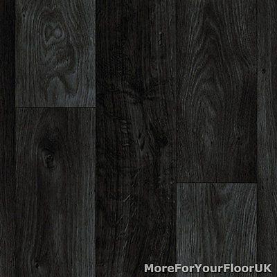 Black Dark Grey Wood Plank Vinyl Flooring Slip Resistant Lino 3m Wide Kitchen
