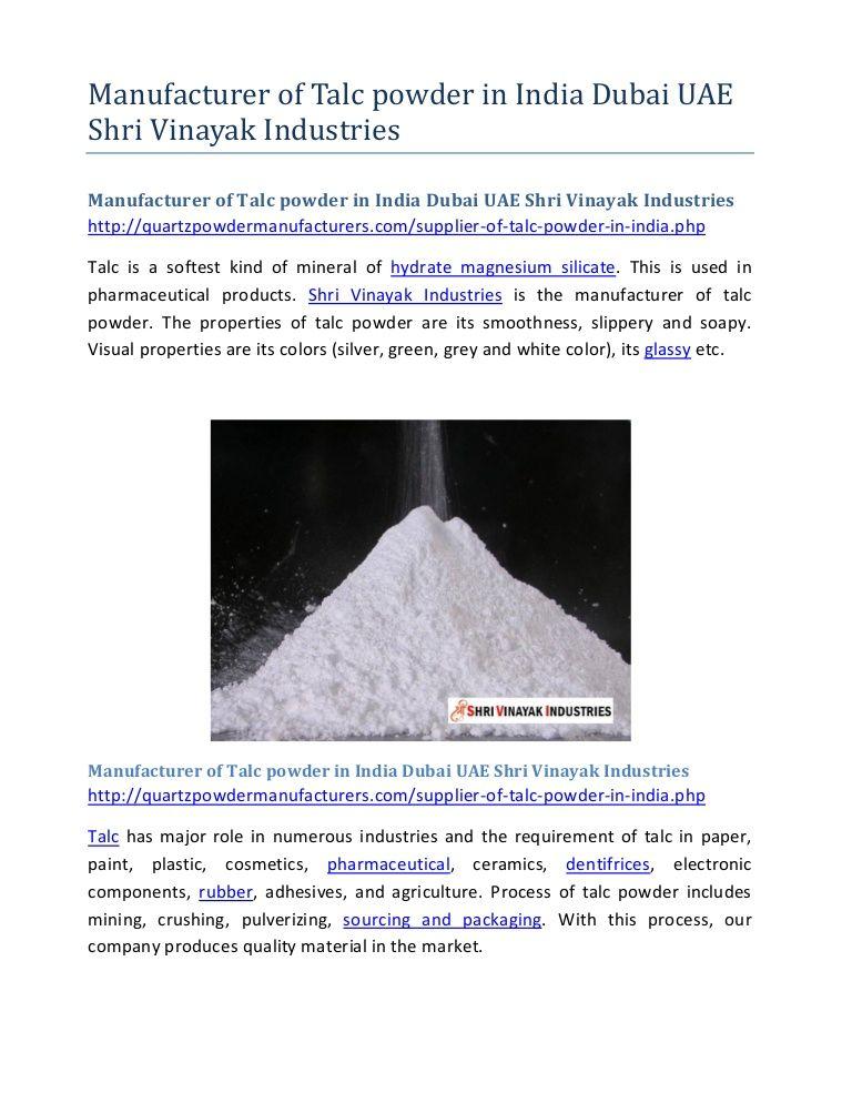 Pin by Shri Vinayak on Manufacturer of talc powder in India