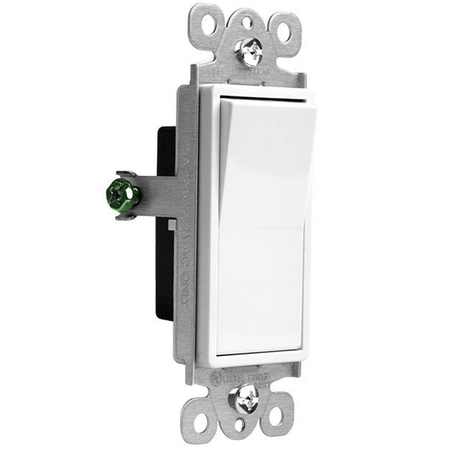 Enerlites 3way On Off Rocker Light Switch 93150w 15 Amp 120v 277v Paddle Ac Single Pole 3 Wire Grounding Screw R Light Switch Plates On Wall Wire Installation