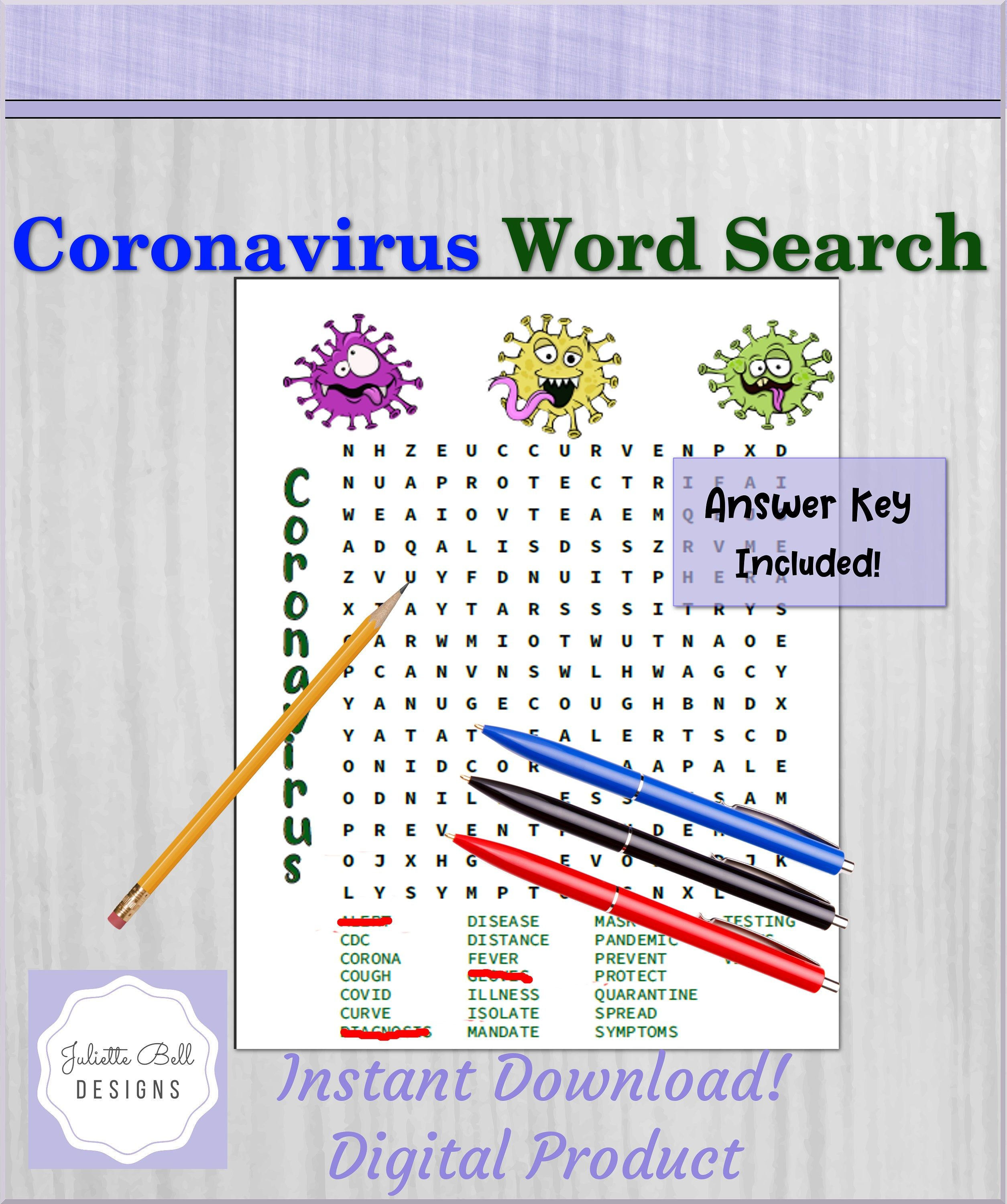INSTANT DOWNLOAD Word Search Puzzle Game Coronavirus   Etsy