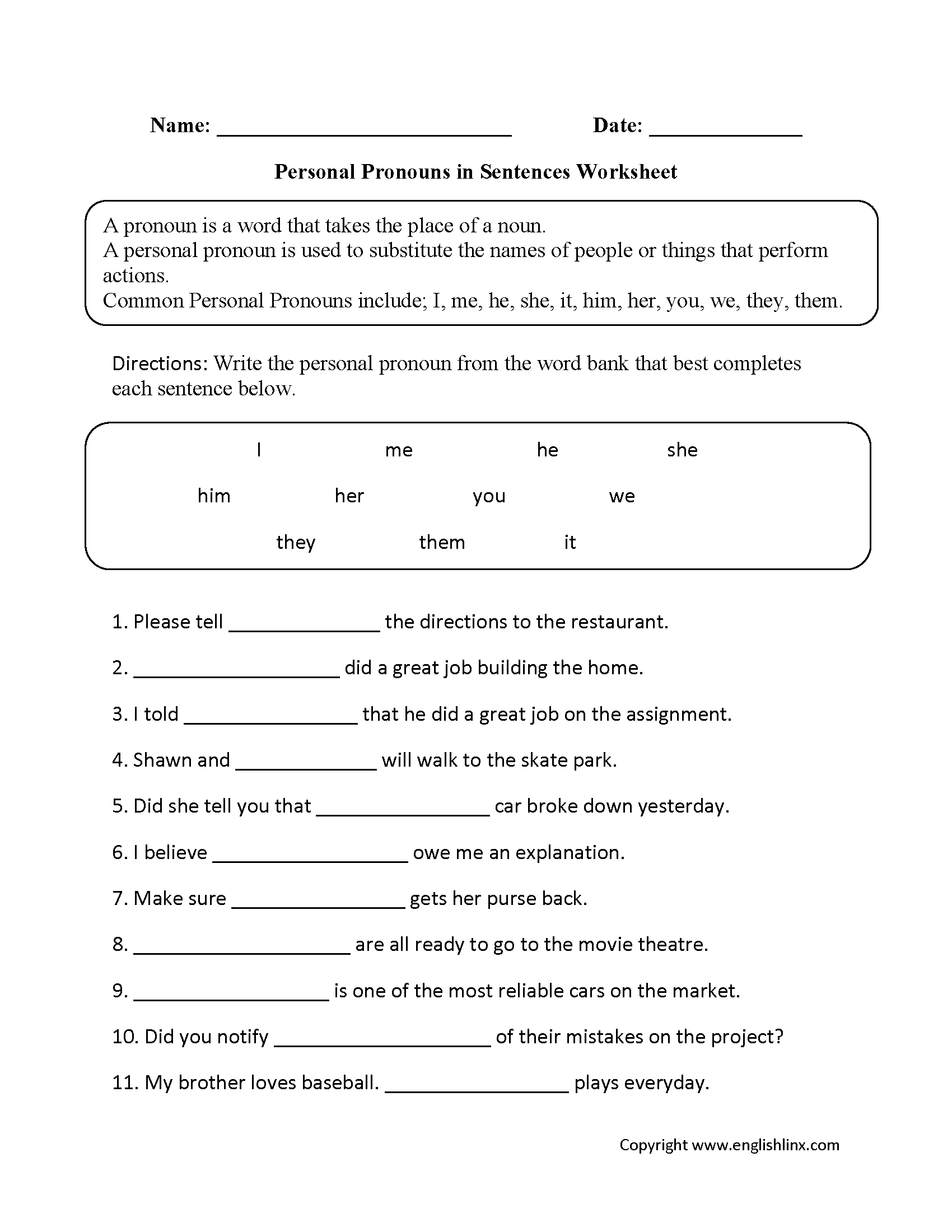 Personal Pronouns in Sentences Worksheets