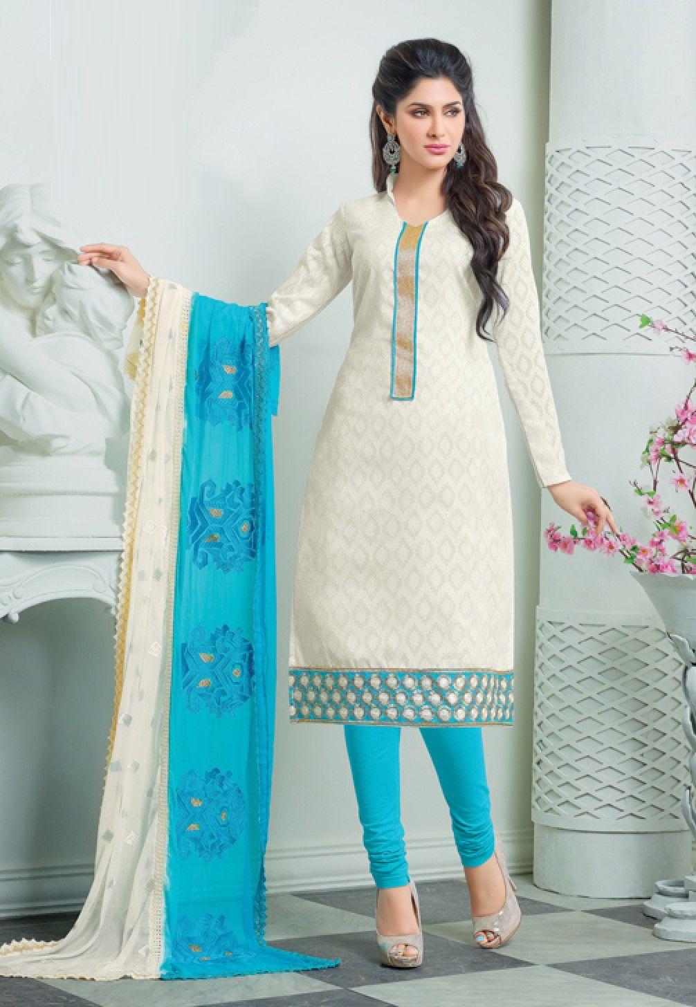 Classy White & Blue Churidar Salwar Suit Dress Material-2011