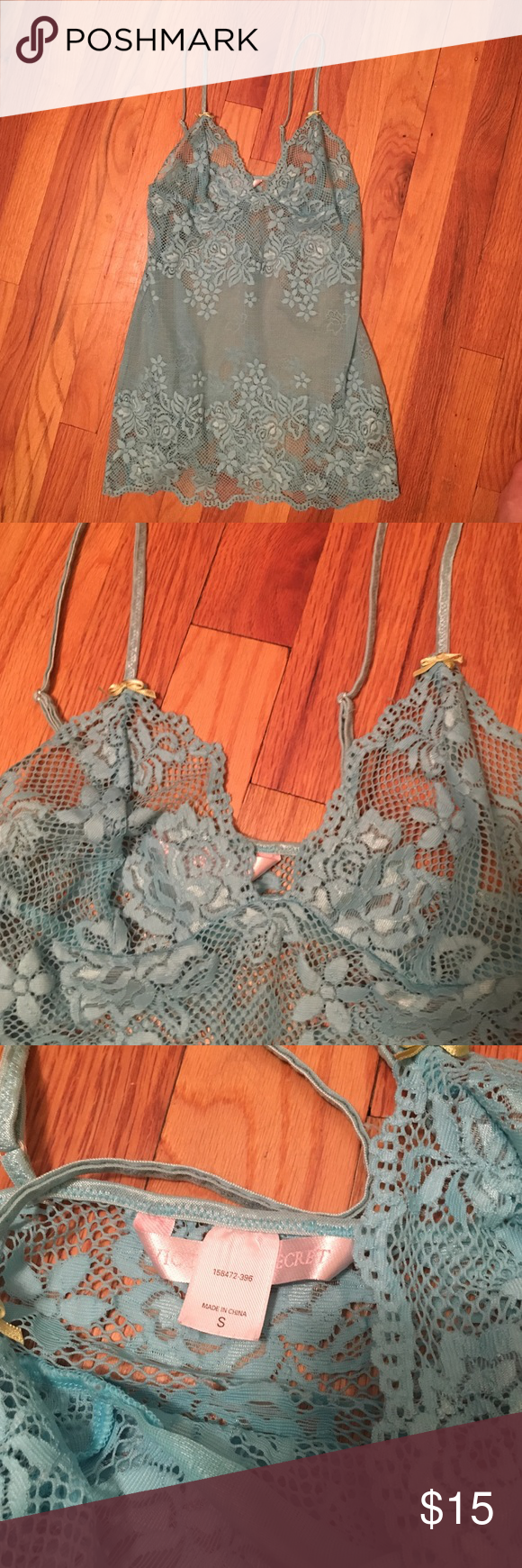 Victoria's Secret lingerie Light teal lace nighty with lime green bow detail. Worn only couple times. Good condition Victoria's Secret Intimates & Sleepwear