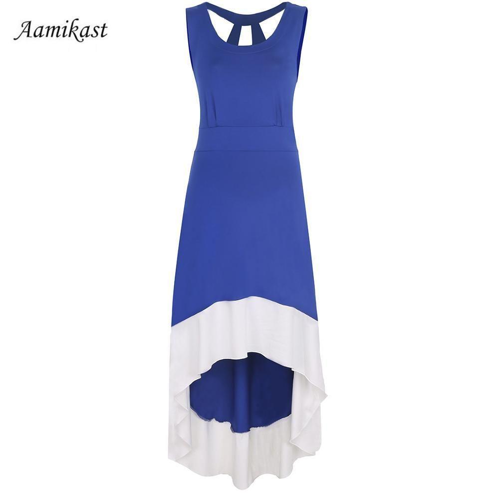 Women irregular pinup casual beach long dress products pinterest
