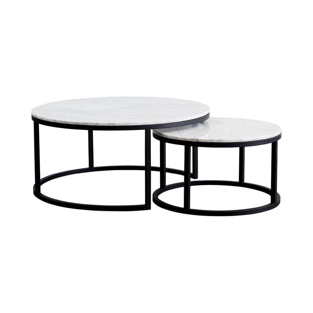 Modern Designer Round Nesting Marble Coffee Tables Black Steel