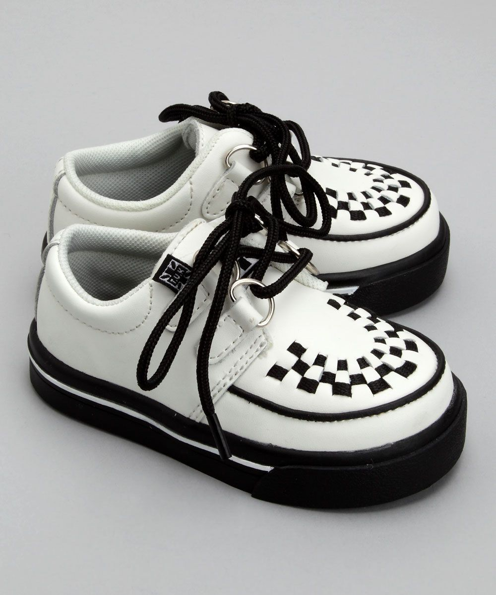 T.U.K. Shoes - White Leather Creepers