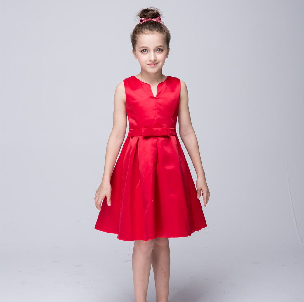 Hot sale flower girls dresses for wedding gowns red girl birthday