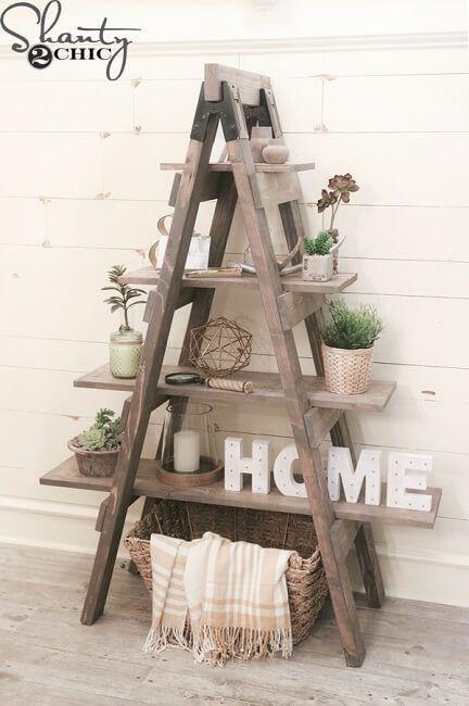 Escaleras de madera recicladas para decoración