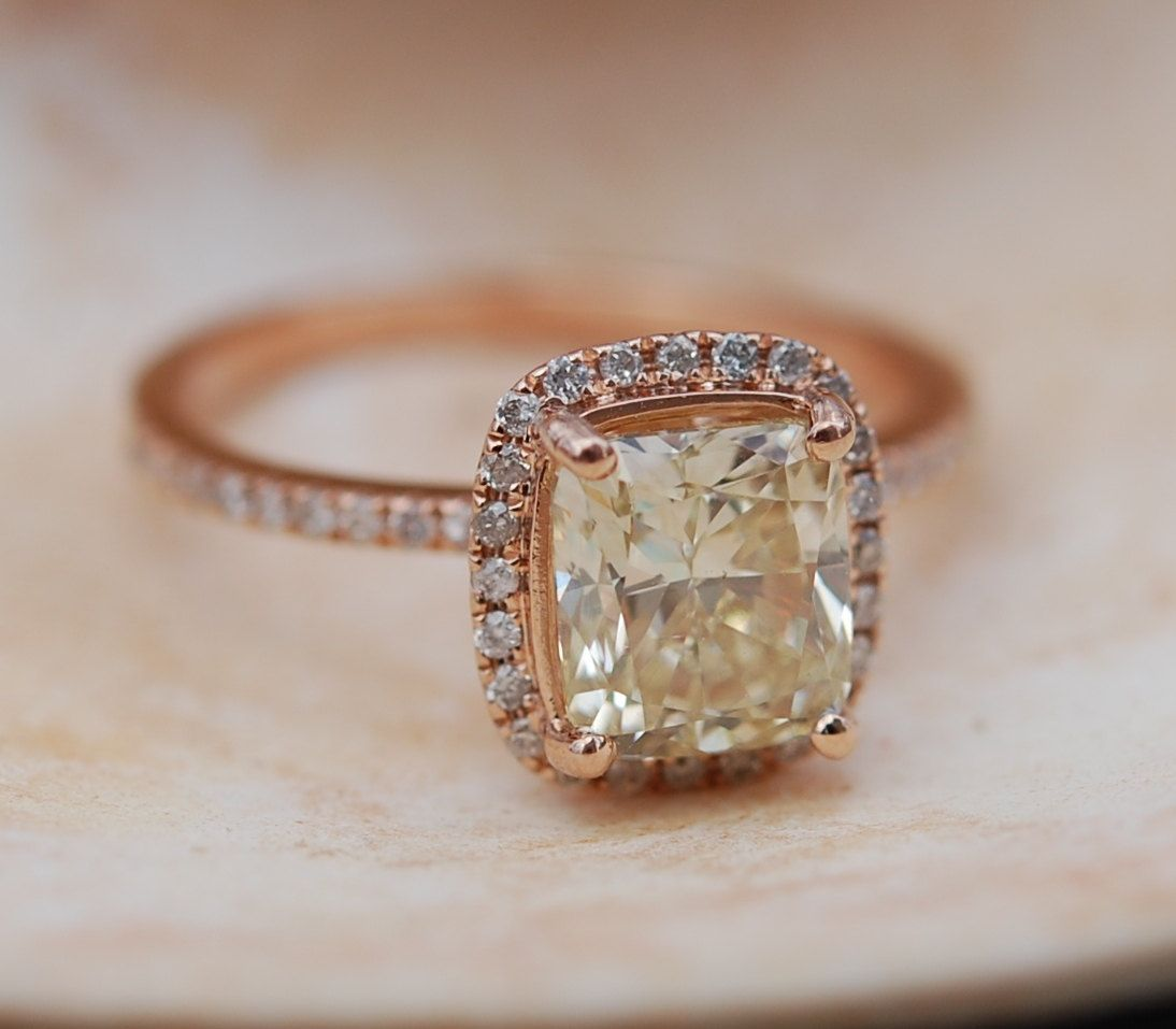 Yellow Diamond Engagement Rings 2ct Vvs2 Jasmine Yellow Diamond Ring Rose  Gold Ring With Cushion Diamond Engagement Ring By Eidelprecious
