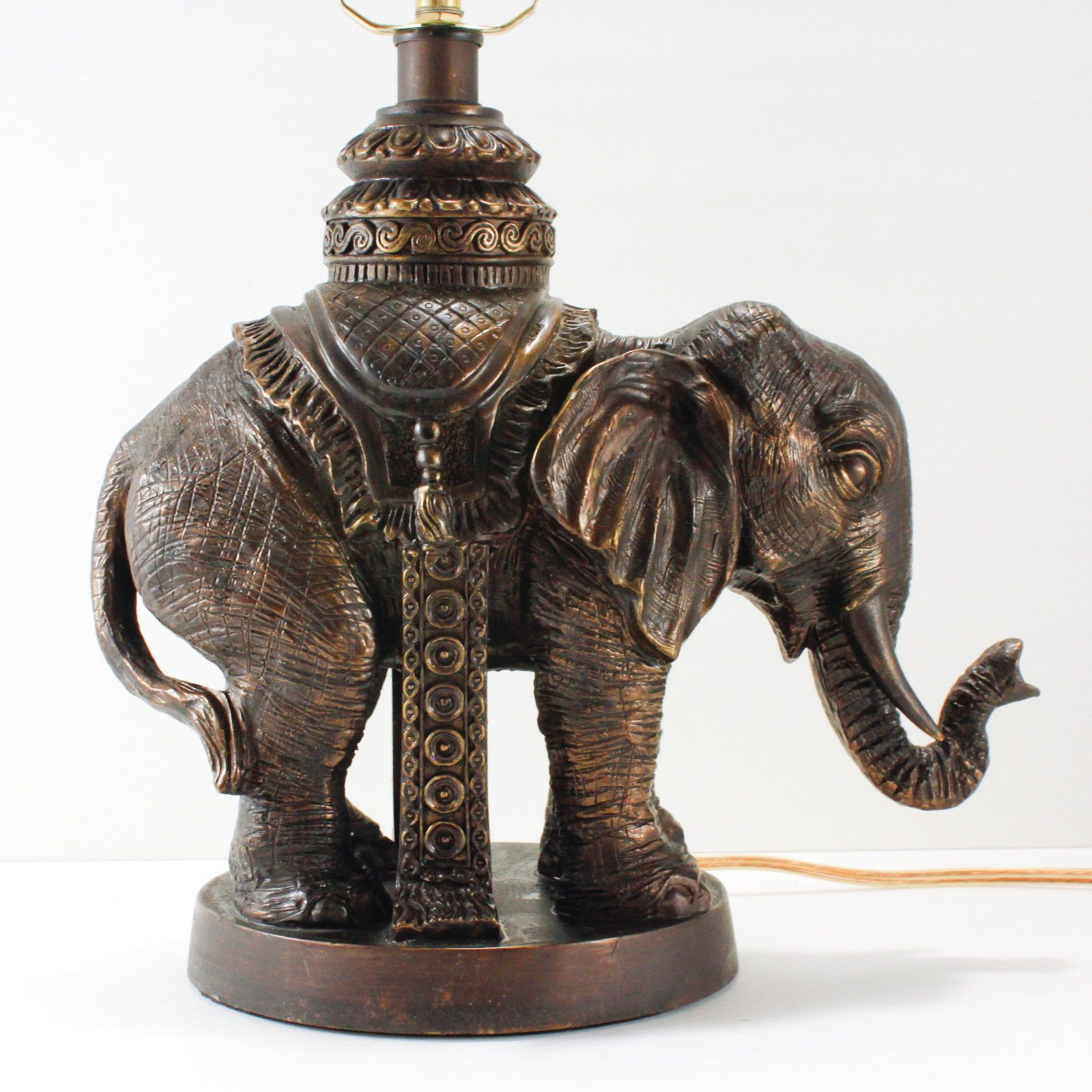 Elephant Lamp British India Old World Style Resin Bronze Tone Table Accent